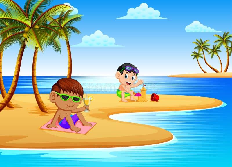 De mooie mening met de kinderen ontspant en spelend met het zand in de kust vector illustratie