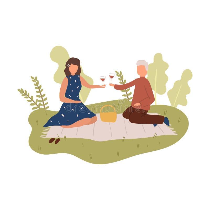 De mooie mensen koppelen bij aardpicknick op dekking aan rode wijn stock illustratie