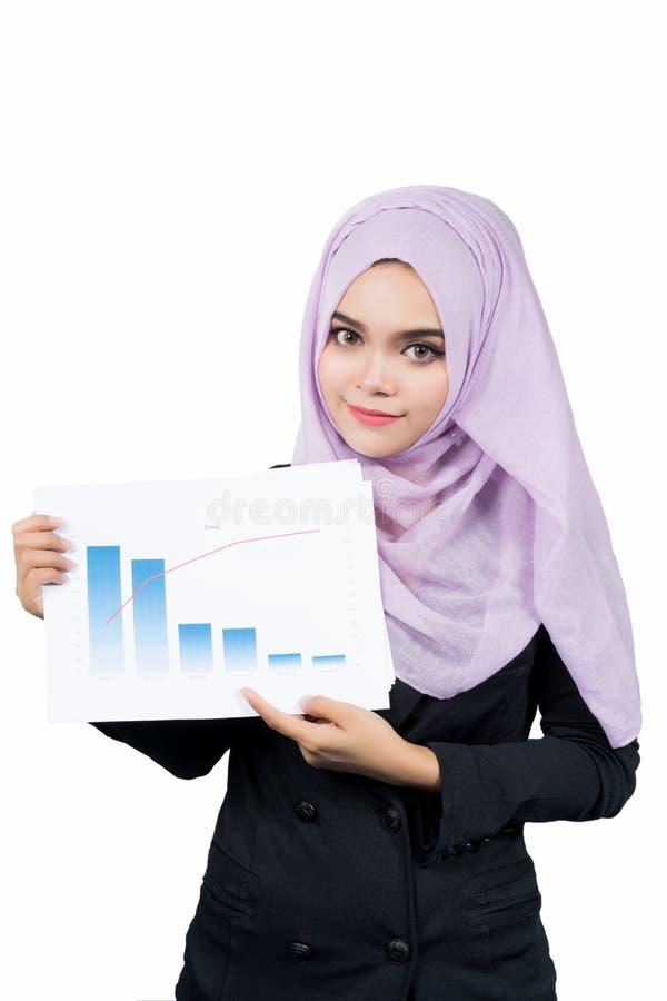 De mooie moderne Jonge Aziatische Moslimrapporten van de bedrijfsvrouwenholding en het bekijken camera royalty-vrije stock afbeeldingen