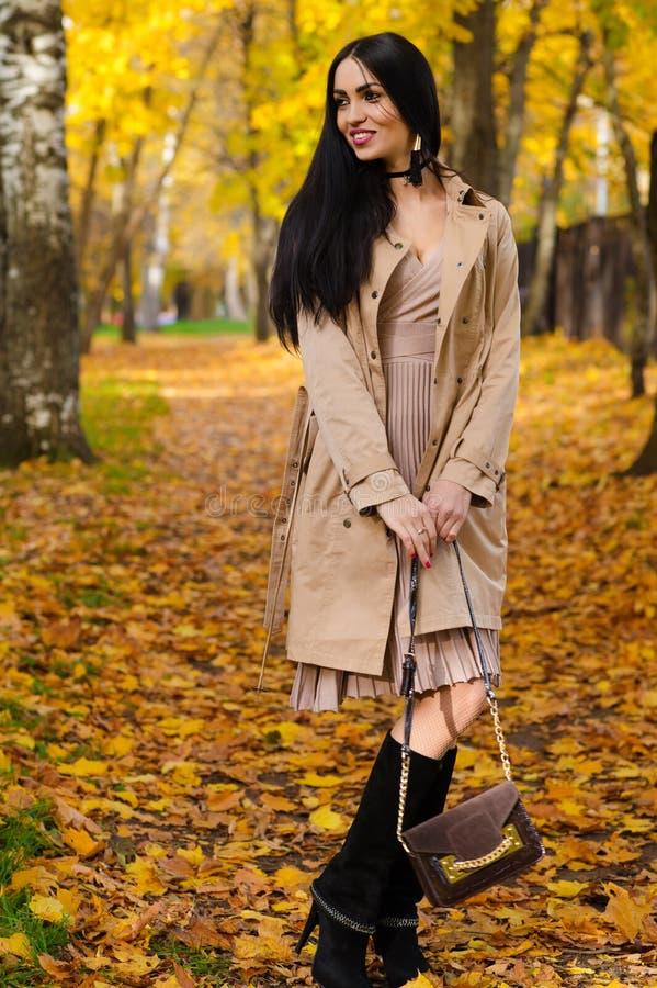 De mooie modieuze vrouw met handtas dient binnen de herfstpark in stock afbeeldingen