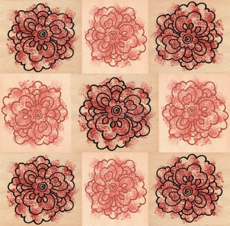 Naadloze patronen met decoratieve vierkanten en bloemen stock illustratie