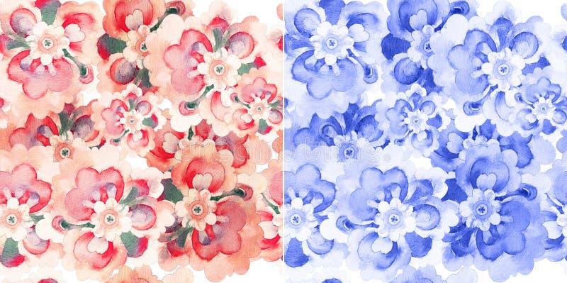 Naadloze patronen met waterverfbloemen royalty-vrije illustratie