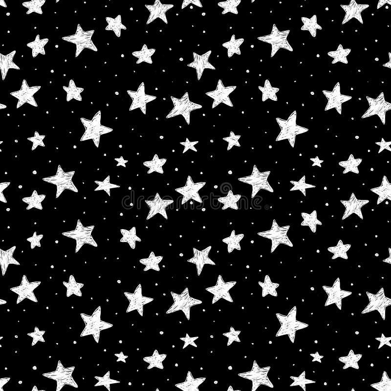 De mooie naadloze zwart-witte sterren van de patroonhand getrokken krabbel geïsoleerd op achtergrond De hemel van de nacht vector illustratie