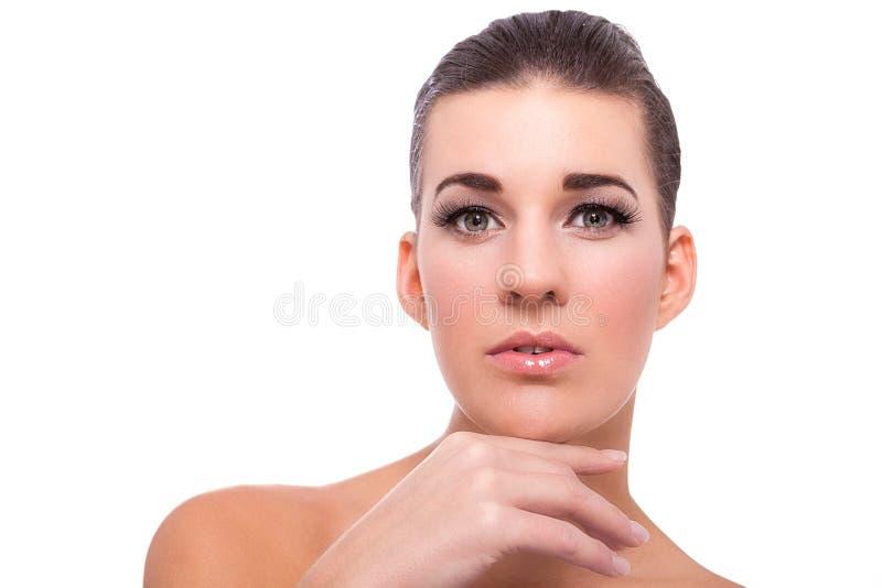 De mooie naakte vrouw in nadenkend stelt stock afbeelding
