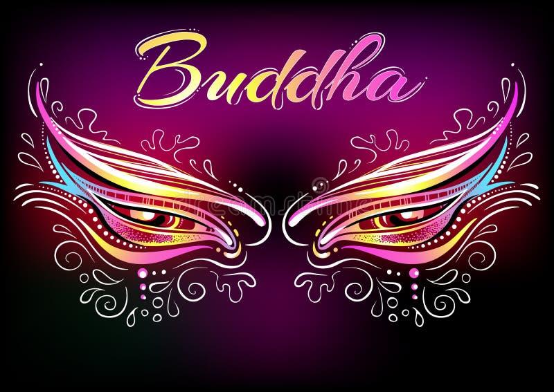 De mooie ogen van Boedha van Nepal overladen met bloemenelementen Aziatische als thema gehade partij en Boeddhistisch stijlontwer royalty-vrije illustratie