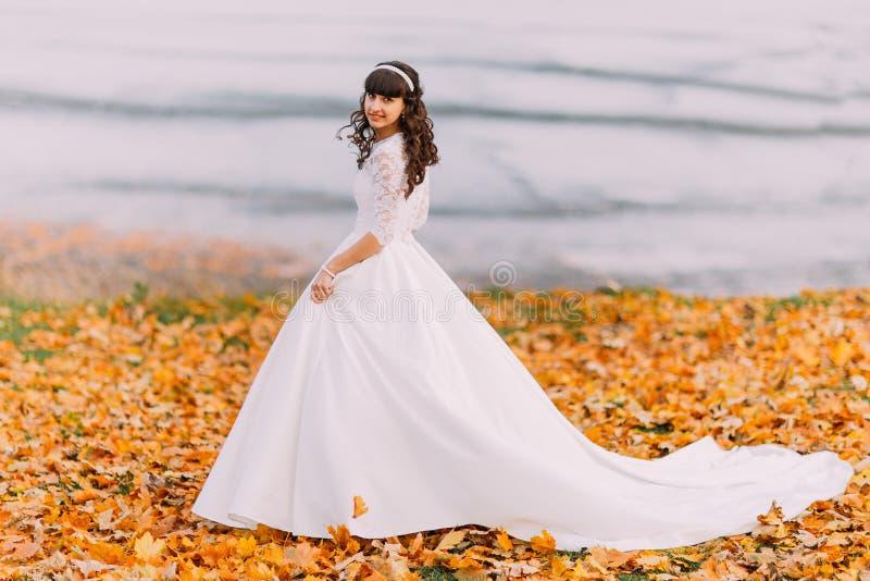 De mooie onschuldige jonge donkerbruine bruid in schitterende witte kleding bevindt zich op gevallen bladeren bij rivieroever stock afbeelding