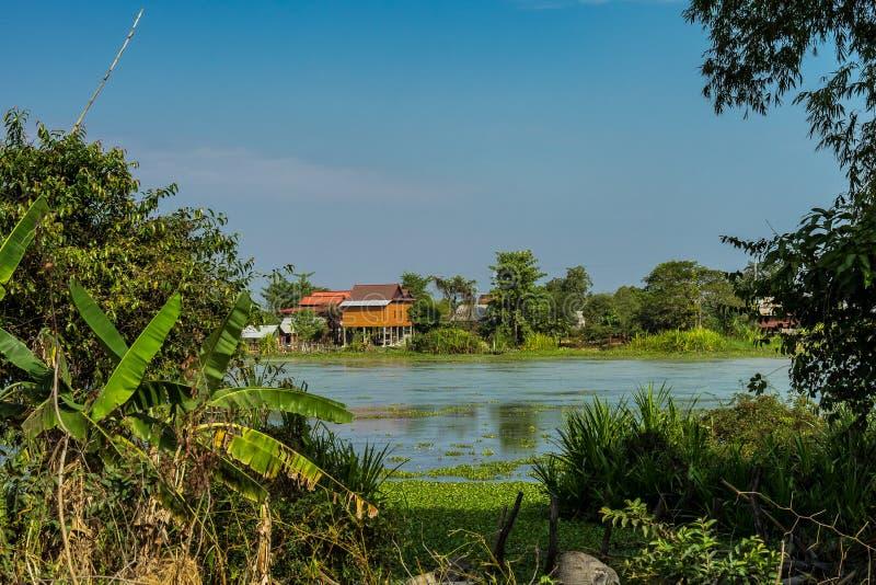 De mooie Plattelandsreis in tropisch platteland, Siem oogst, Kambodja stock fotografie