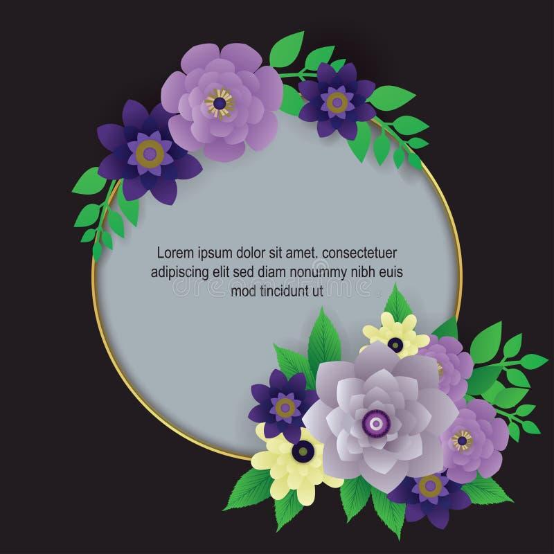 De mooie purpere achtergrond van de bloemgrens stock illustratie
