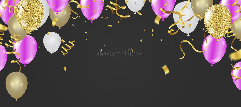 De mooie realistische kaart van de de verjaardags vectorgroet van partijballons gelukkige U wordt uitgenodigd aan een partij royalty-vrije illustratie