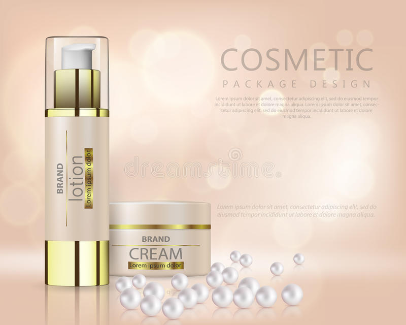 De mooie realistische vector voor reclame van organische kosmetische reeks met gezicht roomt container en parels af royalty-vrije illustratie