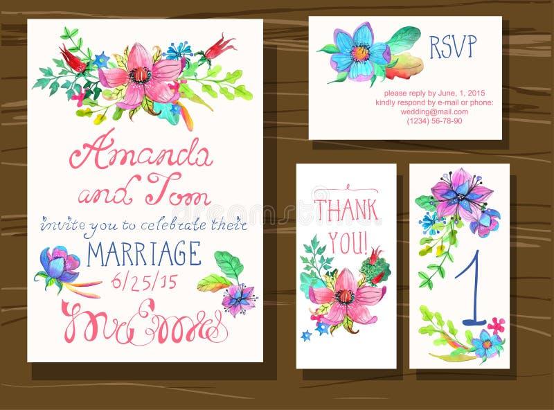 De mooie reeks uitnodigingskaarten met waterverfbloemen elemen vector illustratie