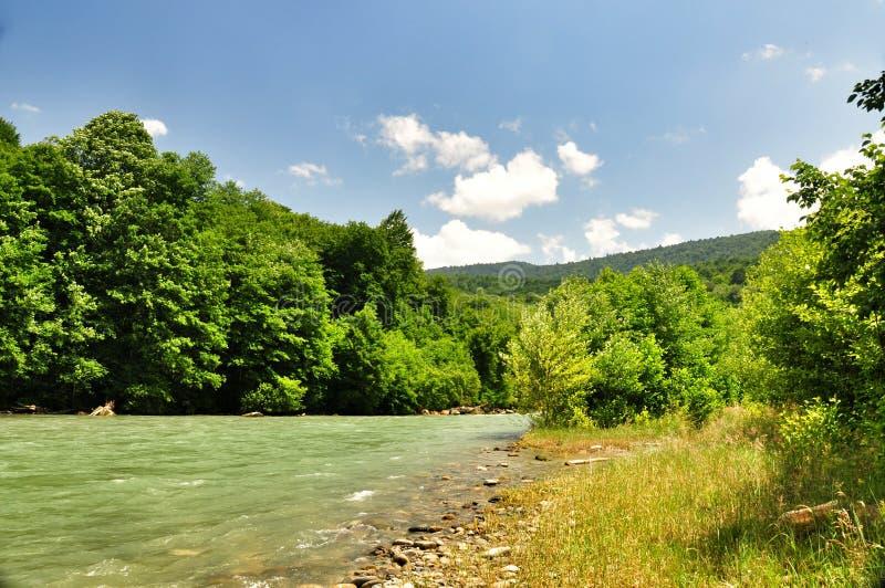 De mooie rivier van de landschapsberg op een zonnige dag royalty-vrije stock foto's