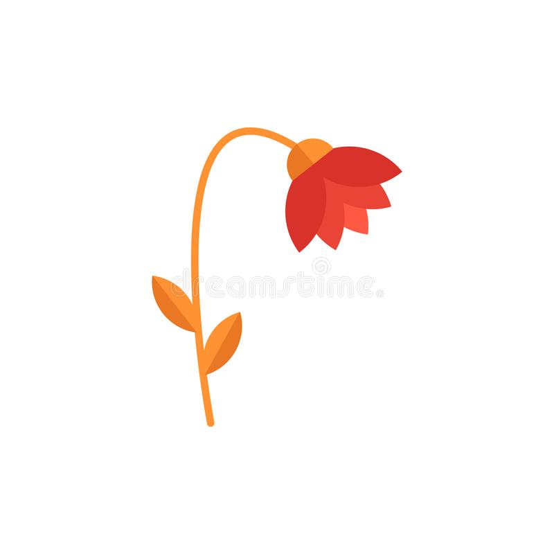 De mooie rode bloem met bladeren, installaties verwelkt en sterft aan luchtvervuiling, grond en het milieu stock illustratie