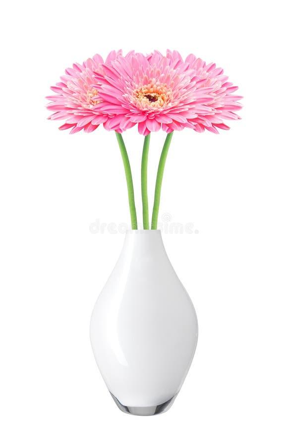 De mooie roze bloemen van het gerberamadeliefje in vaas royalty-vrije stock foto