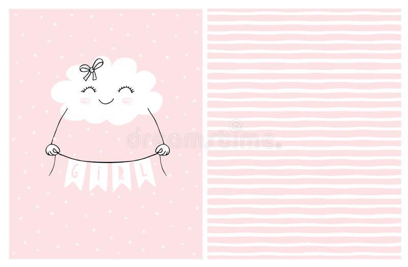 De mooie Roze Vectorkaart van de Babydouche Het glimlachen van Witte Pluizige Wolk die een Banner met het Inschrijvingsmeisje hou royalty-vrije illustratie