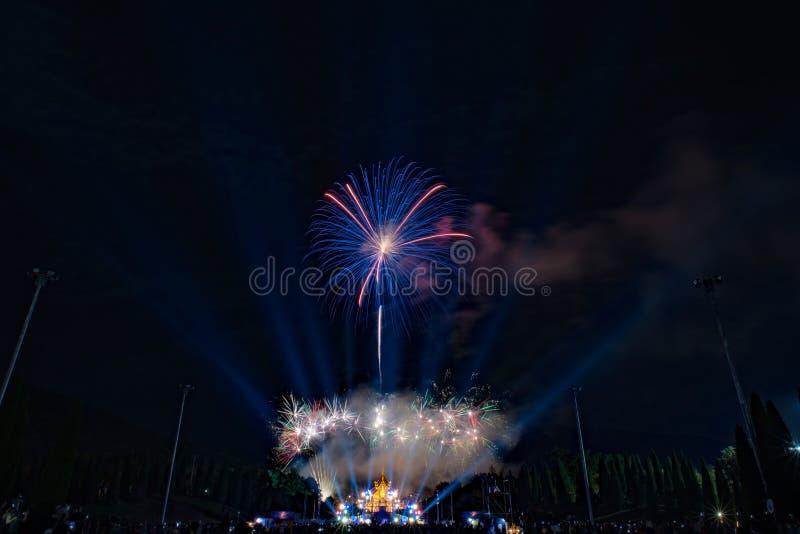 De mooie scène van de vuurwerknacht stock fotografie