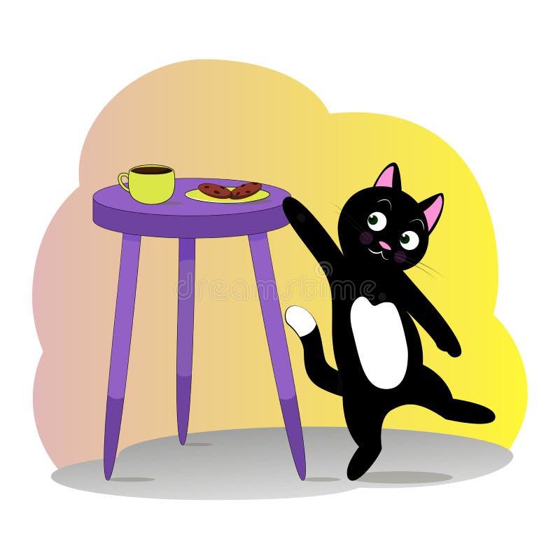De mooie sluwe kat wil een koekje nemen vector illustratie