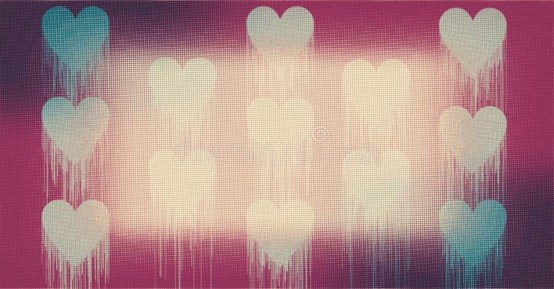 De mooie smeltende harten met kleurrijke, in de schaduw gestelde en aangestoken computer als achtergrond produceerden beeld en be stock illustratie
