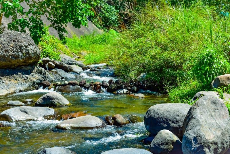 De mooie steenachtige rivier en een prachtig zonnig weer stock foto