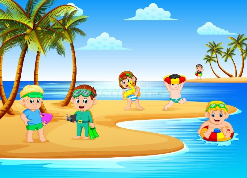 De mooie strandmening met de kinderen die en in het strand spelen zwemmen royalty-vrije illustratie