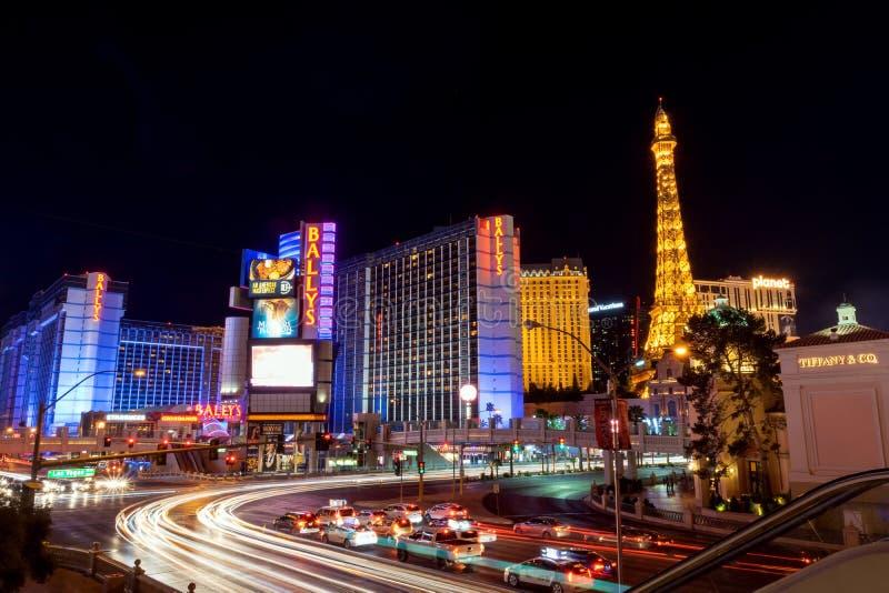 De mooie Strook van Las Vegas bij nacht stock afbeelding