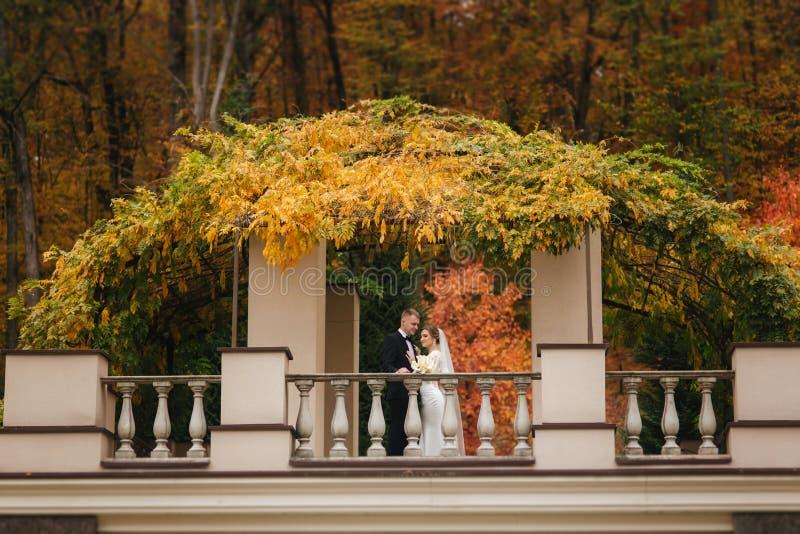 De mooie tribune van het huwelijkspaar op het balkon Modieuze bruid en bruidegom in de herfstweer buiten stock foto's