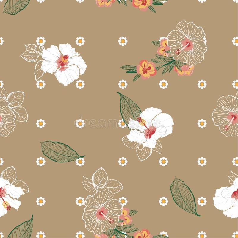De mooie uitstekende Bloeiende mengeling van de hibiscusbloem met geometrisch DA royalty-vrije illustratie