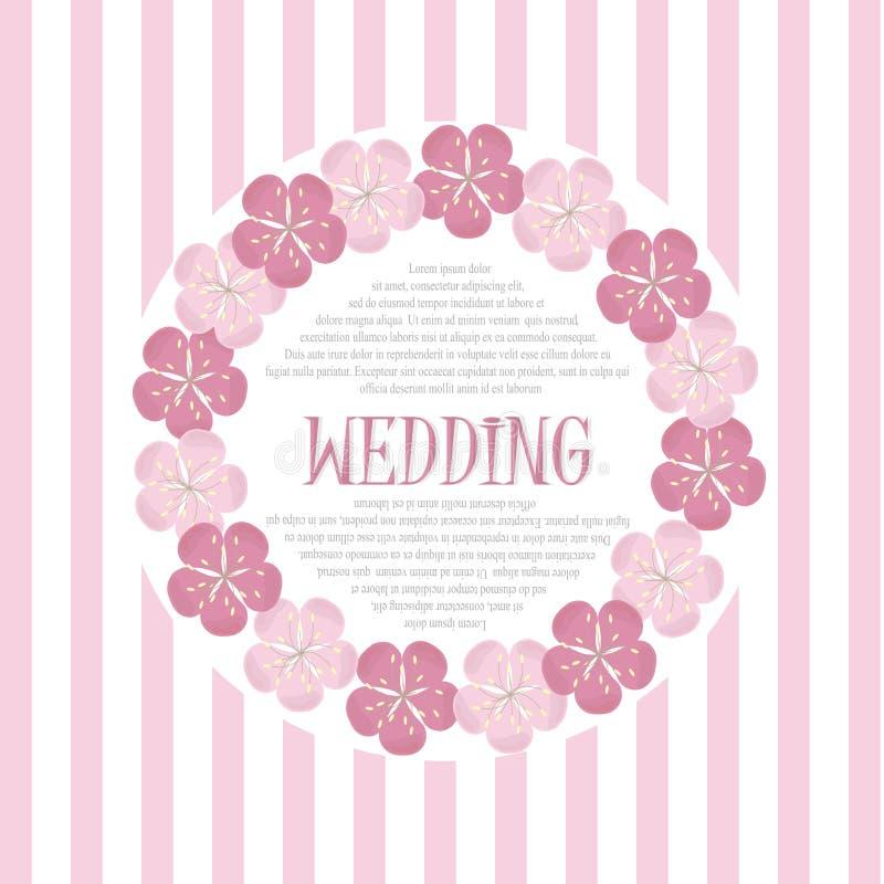 De mooie uitstekende bloemenkaart van de huwelijksuitnodiging, hand trekt roze bloemen, vector royalty-vrije illustratie