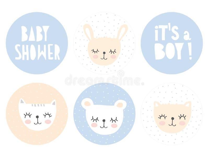 De mooie van de de Babydouche van de Suikergoedbar Vector Geplaatste Markeringen Het is een Jongen en Babydouche stock illustratie