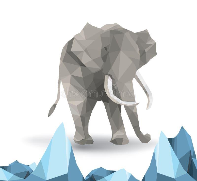 De mooie vector van de olifants abstracte geometrische veelhoek vector illustratie