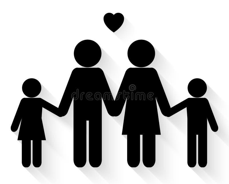 De mooie vector van het familiepictogram royalty-vrije illustratie