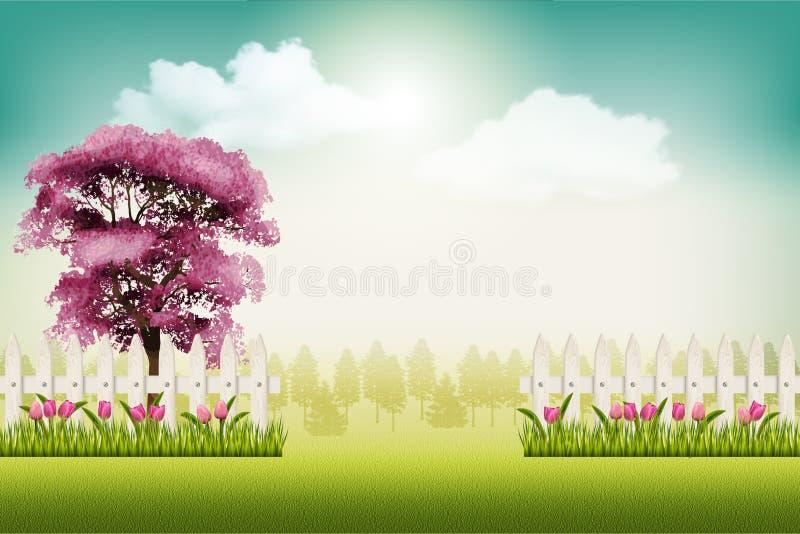 De mooie vectorachtergrond van het de lentelandschap stock illustratie