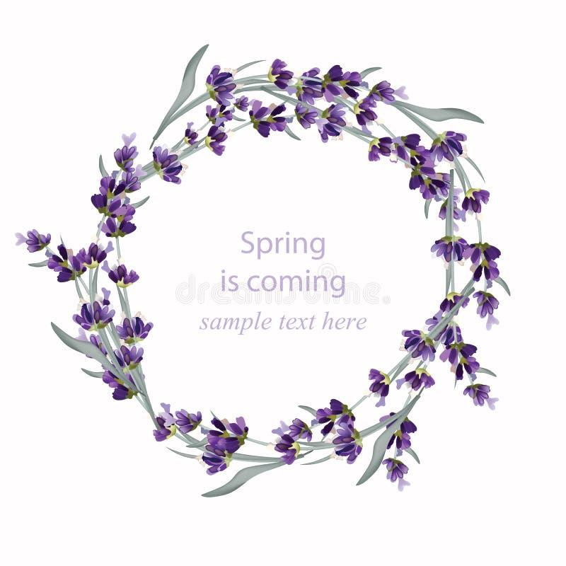 De mooie Vectorillustratie van de lavendelkroon Kaarden de hand getrokken bloemen voor Thank u, Groetkaart of Uitnodiging vector illustratie