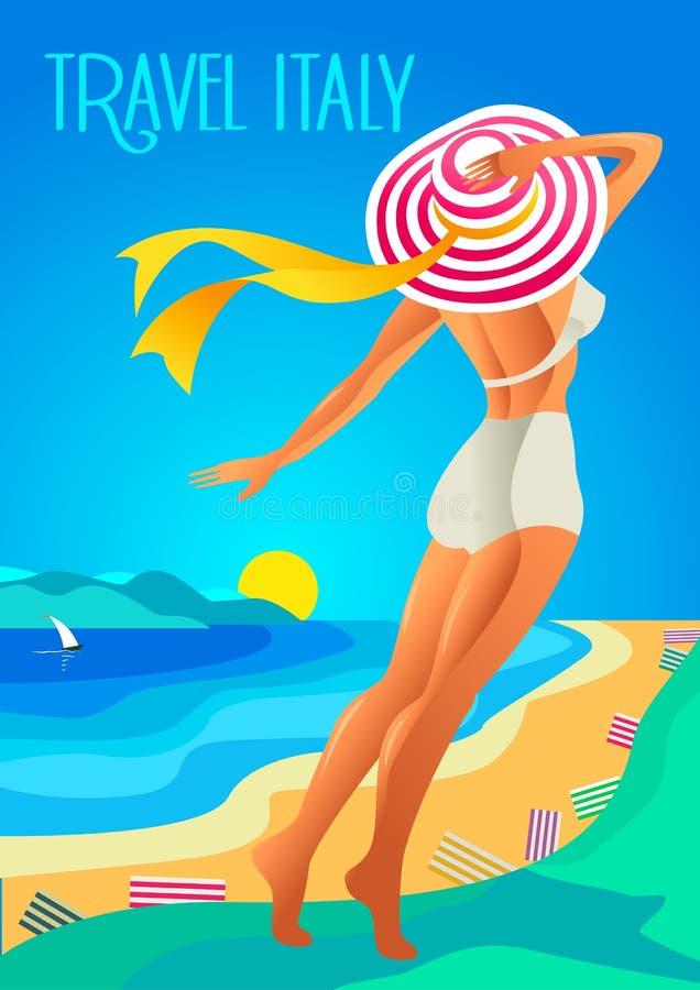 De mooie vrouw in a breed-brimmed hoed op een tropisch strand De meerkust, de bergen Vakantie op Franse Riviera, Ligurië stock illustratie