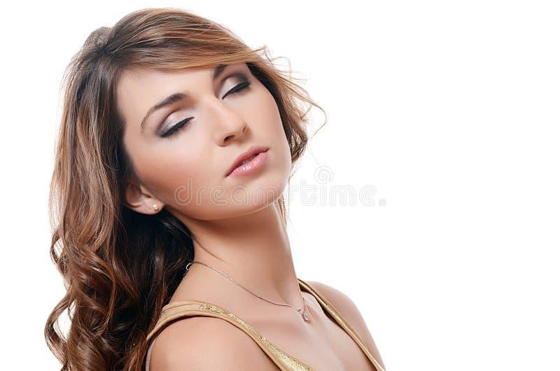 De mooie vrouw. Een foto van de mooie sensuele vrouw met lang haar royalty-vrije stock afbeelding