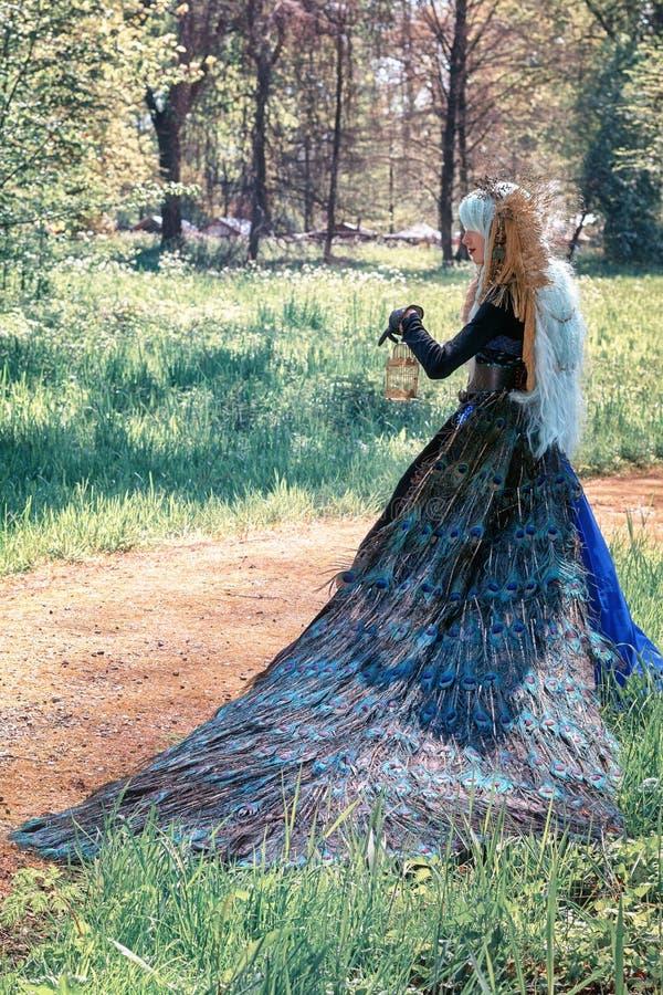 De mooie vrouw gekleed in een pauwkleding stelt in het park dur stock fotografie