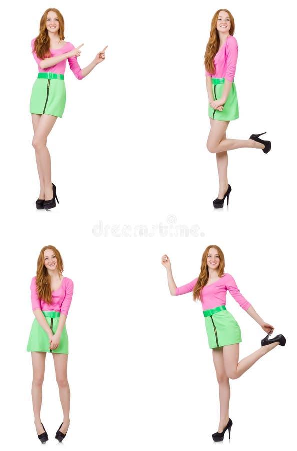 De mooie vrouw in groene rok stock afbeelding