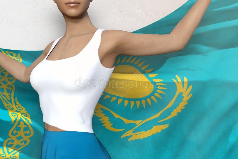De mooie vrouw in heldere rok houdt de vlag van Kazachstan terug in handen achter haar op de witte achtergrond - markeer concepte vector illustratie