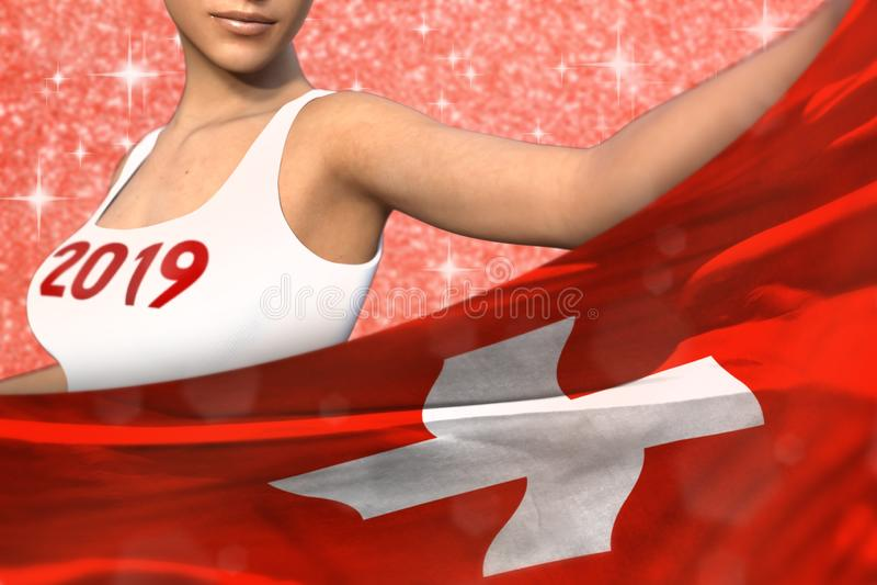 De mooie vrouw houdt de vlag van Zwitserland vooraan op de rode glanzende vonkenachtergrond - Kerstmis en 3d het concept van de h royalty-vrije illustratie