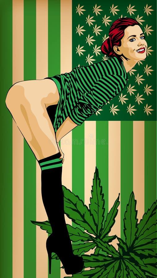 De mooie vrouw met de V.S. markeert gekleurd groen Naakte benen Vector beeld De V.S. markeren groene kleuren met marihuana doorbl vector illustratie