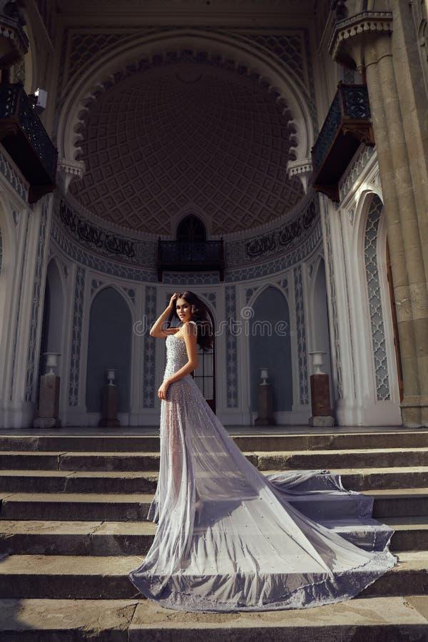 De mooie vrouw met donker haar draagt luxueuze lovertjekleding royalty-vrije stock foto's