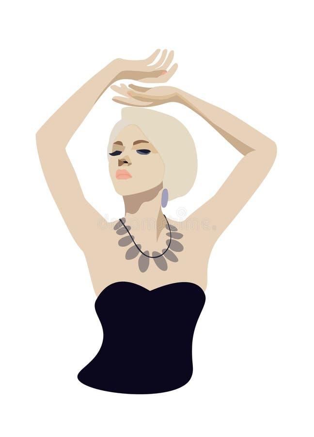 De mooie vrouw met halsband royalty-vrije illustratie