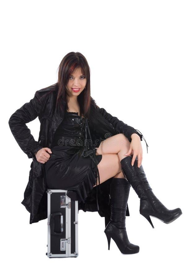 De mooie vrouw met valise stock afbeeldingen