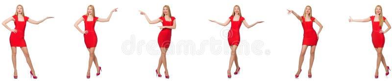 De mooie vrouw in rode die kleding op wit wordt ge?soleerd royalty-vrije stock foto's