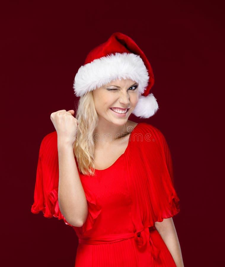 De mooie vrouw is zeer gelukkig stock fotografie