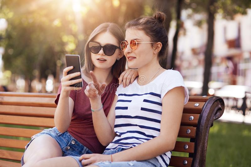 De mooie vrouwelijke tieners in in schaduwen, bekijkt aandachtig slimme telefoon, doen online het winkelen, kiezen nieuwe de zome royalty-vrije stock fotografie