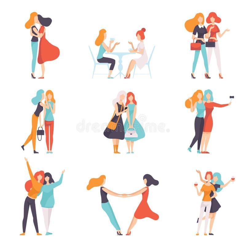 De mooie Vrouwenvrienden die Goede Tijd doorbrengen plaatsen samen, Gelukkige Vergadering, Vrouwelijke Vriendschaps Vectorillustr stock illustratie