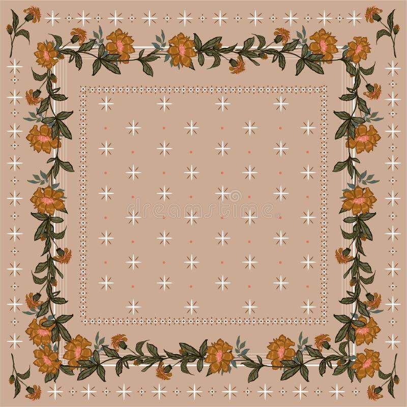 De mooie wijnoogst van het Boheemse bloeien bloeit van het de stijl het naadloze patroon van sjaalbandana vectorontwerp voor mani royalty-vrije illustratie