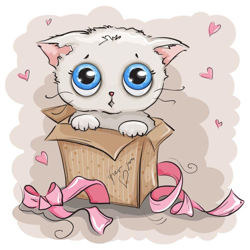De mooie witte doos van de katjesgift vector illustratie