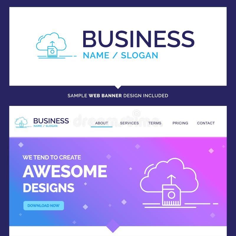 De mooie wolk van de Bedrijfsconceptenmerknaam, uploadt, sparen, gegevens royalty-vrije illustratie